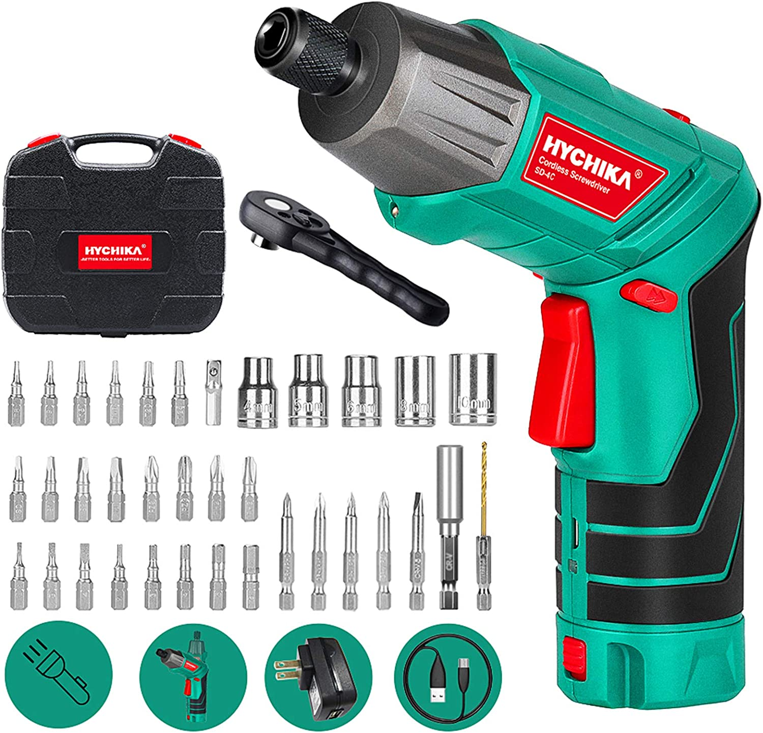 HYCHIKA Cordless Screwdriver With Front LED & 36pcs Accessories, Carrying Box