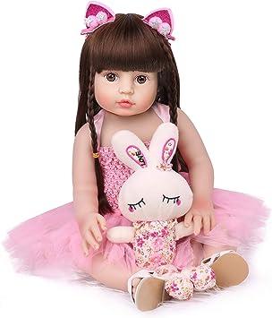 NPK Full-Body Vinyl Doll w/Long Hair & Rabbit, 18