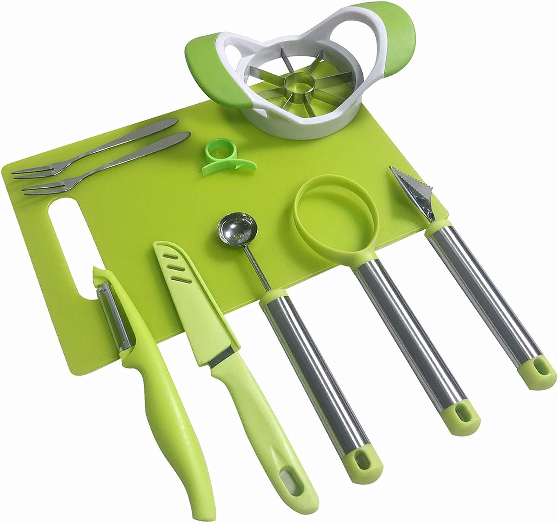 NewFerU Garnish Shape Tool Set for Fruit Vegetable:Melon Baller Scoop,Carving Cutter Knife,Apple Corer Slicer Remover,Dig Pulp Separator,Citrus Lemon Peeler,Chopping Board,Forks Kitchen Gadgets (9)