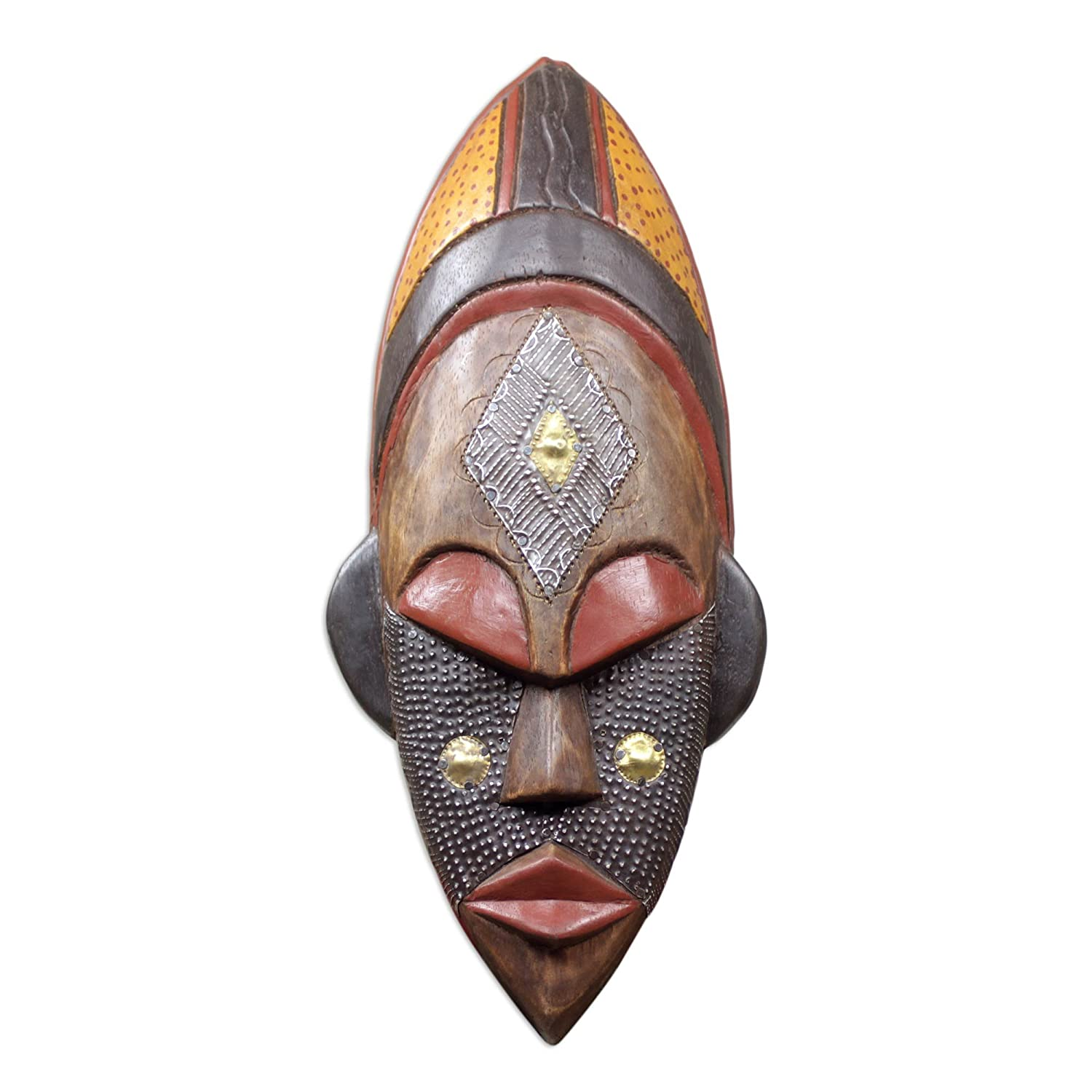 NOVICA Brown and Red Handcrafted African Wood Wall Mask, Dan Beauty'