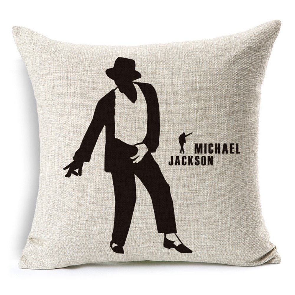 45x45cm Jameswish Square Michael Jackson Pillow Cover Decorative Sofa Cushion Cover 18x18inch No Pillow Insert