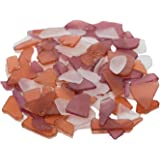 Nautical Crush Trading Sea Glass | Amber Brown Red and Frosted White Sea Glass Mix | Assorted Sea Glass for Decoration and Craft TM