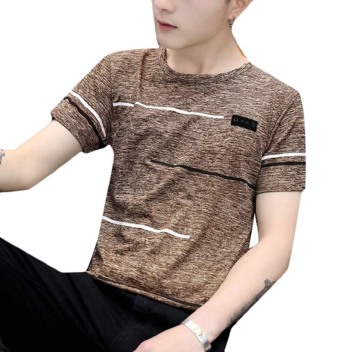 Hokny TD Mens Tops Breathable Printing Solid Crewneck Short Sleeve T-Shirt