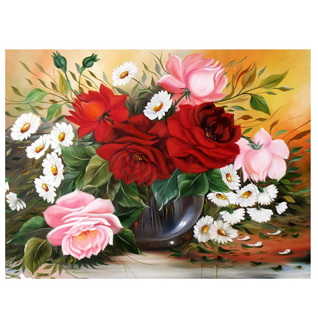 CapsA DIY 5D Diamond Painting Embroidery Paintings Rhinestone Pasted Painting Cross Stitch Arts Craft for Home Wall Decor Full Drill Rose Flowers Pattern