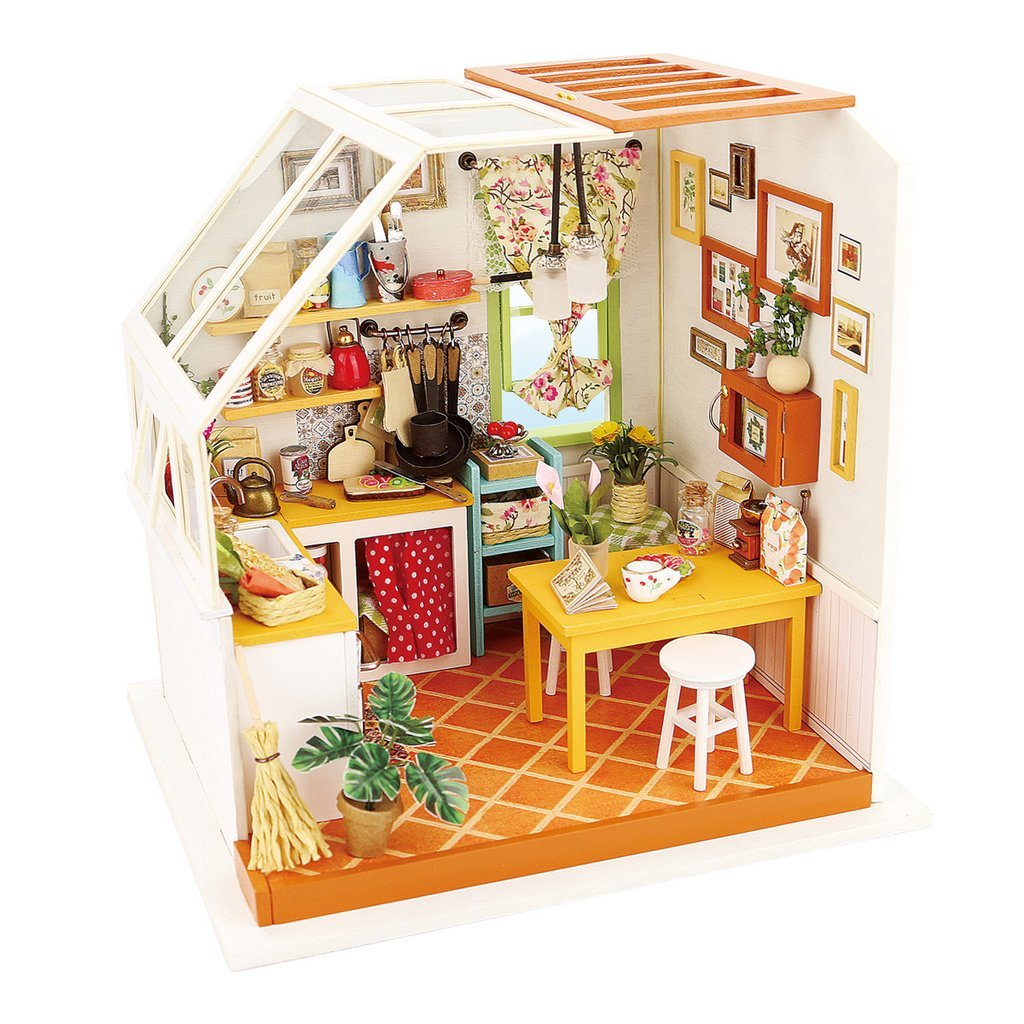 Kinder Wooden Mini Toy House Kit-Mini Kitchen-3d Puzzle-Flash LED Light Toy-Home DIY for Boy Girl Gift Cover