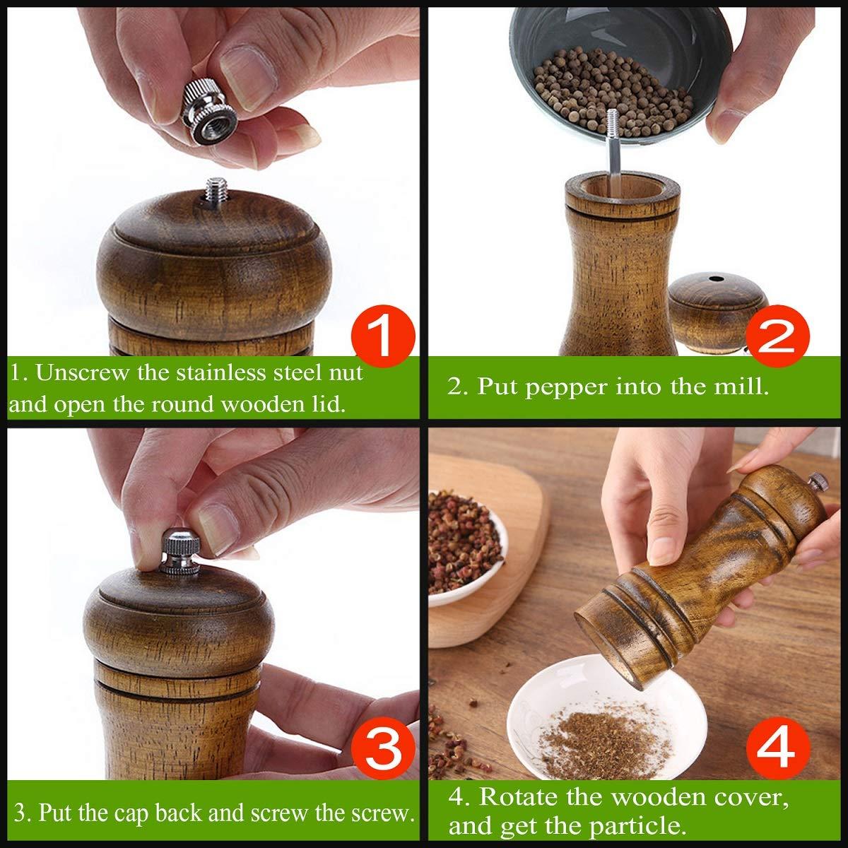 Pepper Grinder Oak Wooden Salt and Pepper Mill Set Adjustable Coarse and Fine Sea Salt Grinder /& Pepper Grinder for Home Chef and 2 Brushes 5 inch