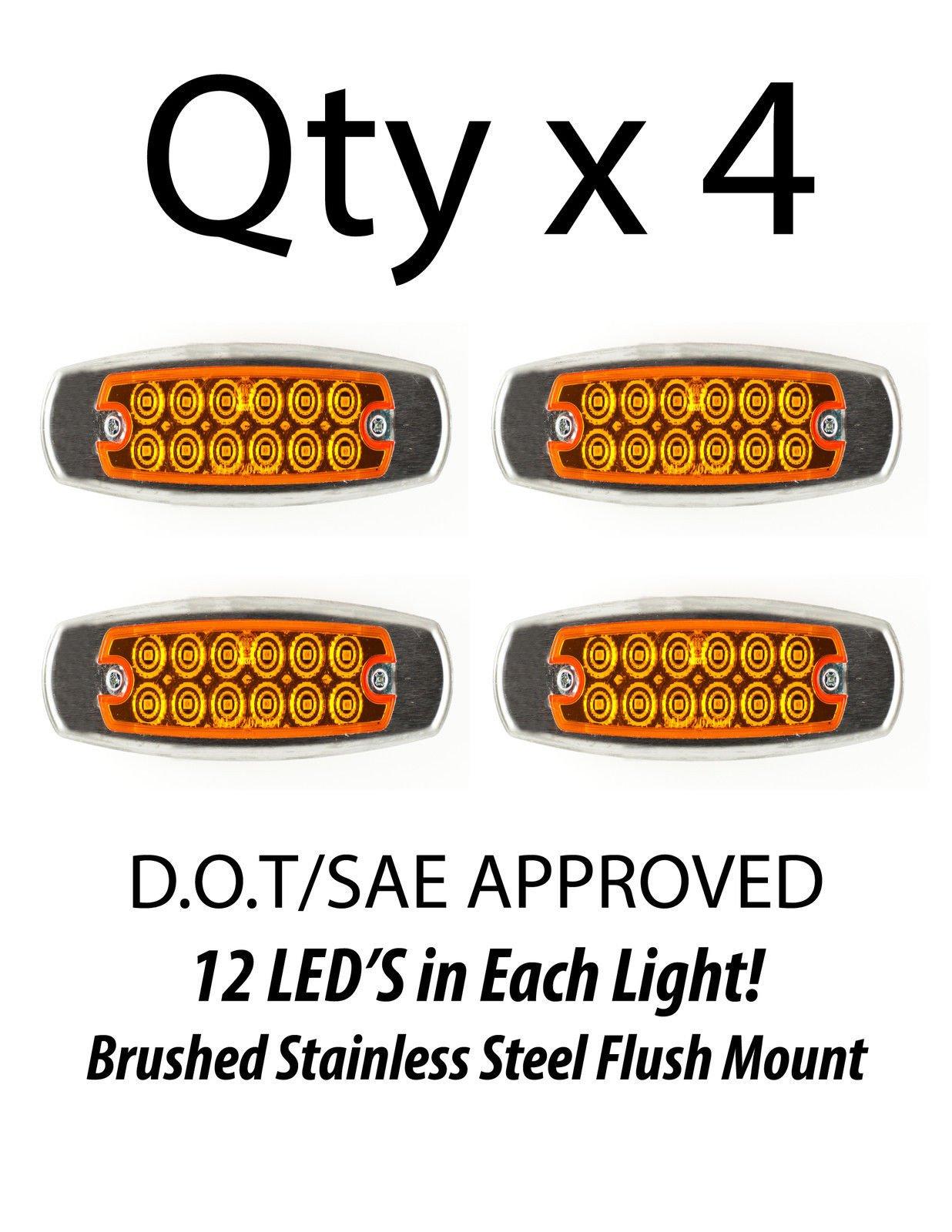 4- Amber 12 LED Sealed Side Marker Clearance Light Fish Shape Truck Trailer 12V