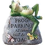 Frog Parking Only Decorative Garden Stone, Grey