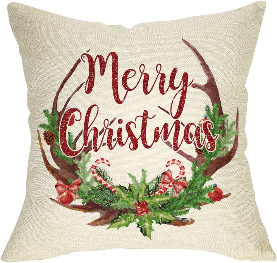 Softxpp Merry Christmas Throw Pillow Cover, Decorative Xmas Deer Antler Garland Cushion Case, Home Winter Decoration Holiday Square Pillowcase Decor for Sofa Couch 18'' x 18'' Inch Cotton Linen