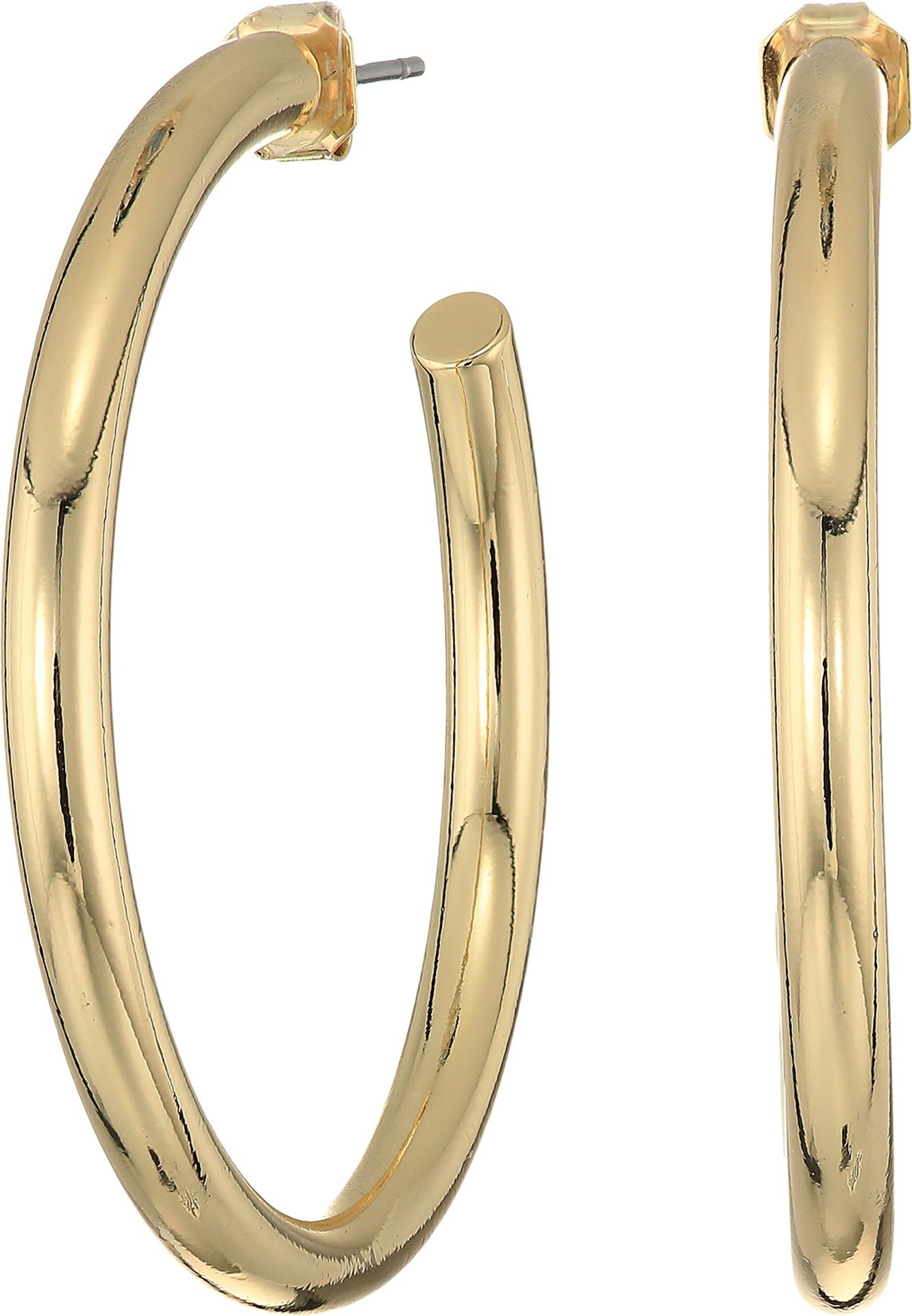 French Connection Womens Large Tube Hoop Earrings Gold One Size