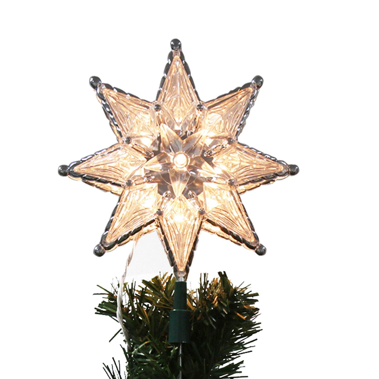 EAMBRITE 10-Light 8-Point Star Christmas Treetop for Home Party Holiday Winter Xmas Decorations, 7.5Inch 809002