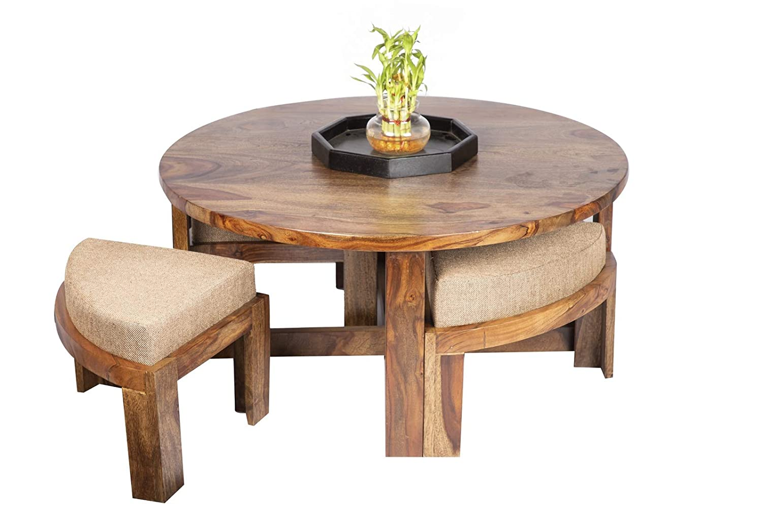 - Ikiriya Solid Wood Coffee Table/Center Table With 4 Stools (CTW111