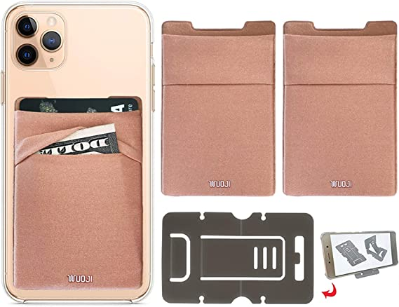 [2PC] RFID Blocking Phone Card Wallet - Double Secure Pocket - Ultra-Slim Self Adhesive Credit Card Holder Card Sleeves Phone Wallet Sticker All Smartphones(Gold)