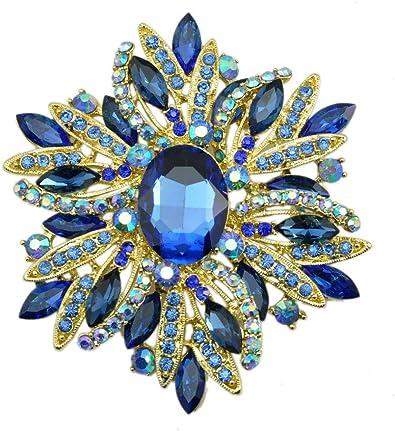 Beautiful Vintage Blue Enamel Large Flower Rhinestone Brooch