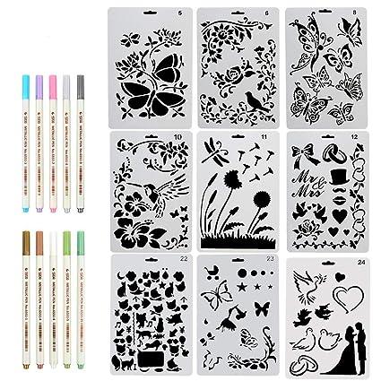 ccmart dibujo pintura Stencil Set de 9 con mariposa, flores, pájaros ...