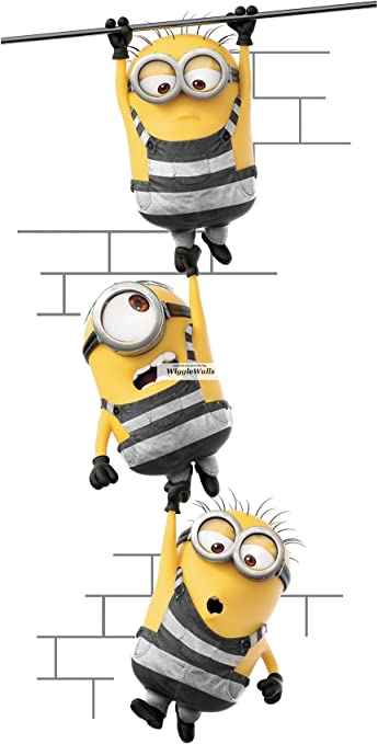 16 Inch Minions Despicable Me 3 Wall Decal Sticker Minion Removable Peel  Self Stick Adhesive Vinyl Decorative Art Kids Room Home Decor Children 8  1/2 ...