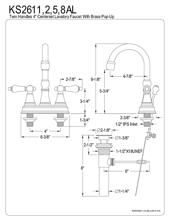 Kingston Brass Ks2612al Governor 4 Inch Centerset Lavatory Faucet