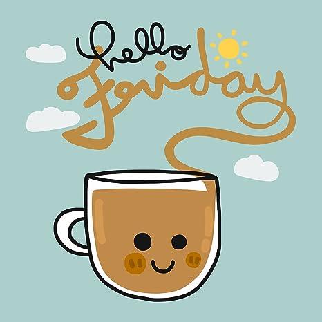 Amazon.com: Hello Friday Happy Kawaii Coffee Cup Cartoon Icon ... #coffeeFriday