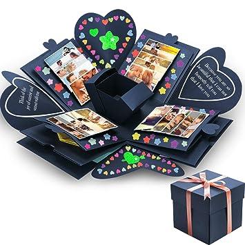 Tatuo Creative Gift Box Memory Diy Scrapbook Photo Album For Christmas Birthday Anniversary Valentine Day Wedding Navy Blue