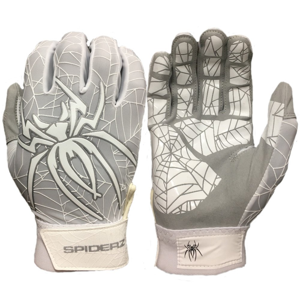 Spiderz Lite Batting Gloves with Enhanced Silicon Spider Webグリップ B077J8HSFK Adult Large|ホワイト/シルバー ホワイト/シルバー Adult Large