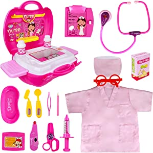 Toy Doctor Kit for Kids - Pretend Play Doctor Set with Carrying Case, Electronic Stethoscope & Nurse Dress Up Costume - Doctor Play Set for Girls Toddlers Ages 3 4 5 6 Year Old For Role Play Gift