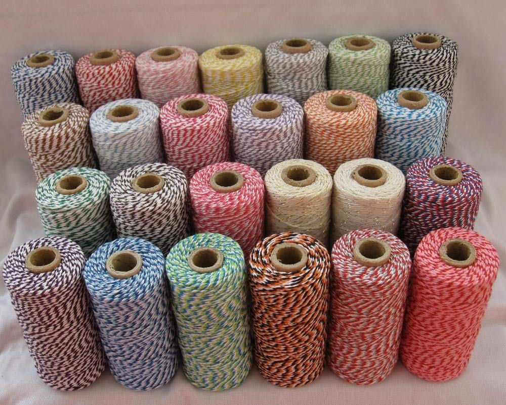 FINCOS 14pcs/lot 55 Kinds Color Cotton Baker Twine Cotton Cords Cotton String 110yards/spool Divine Twine, for Gift Packing