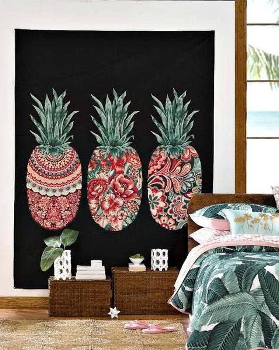 Fresh Pineapple Printed Wall Art Hanging Tapestry Dorm Decor (51H x 60W,Pineapple) Shukqueen