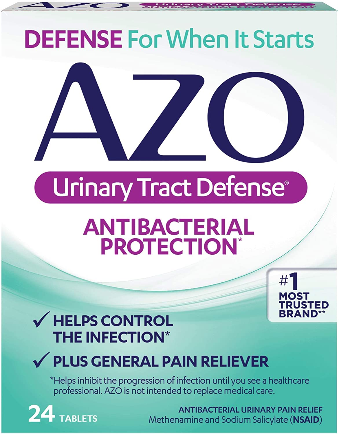 AZO Urinary Tract Defense Antibacterial Protection | Helps Control a UTI Until You Can See a Doctor | #1 Most Trusted Urinary Health Brand | 24 Tablets: Health & Personal Care