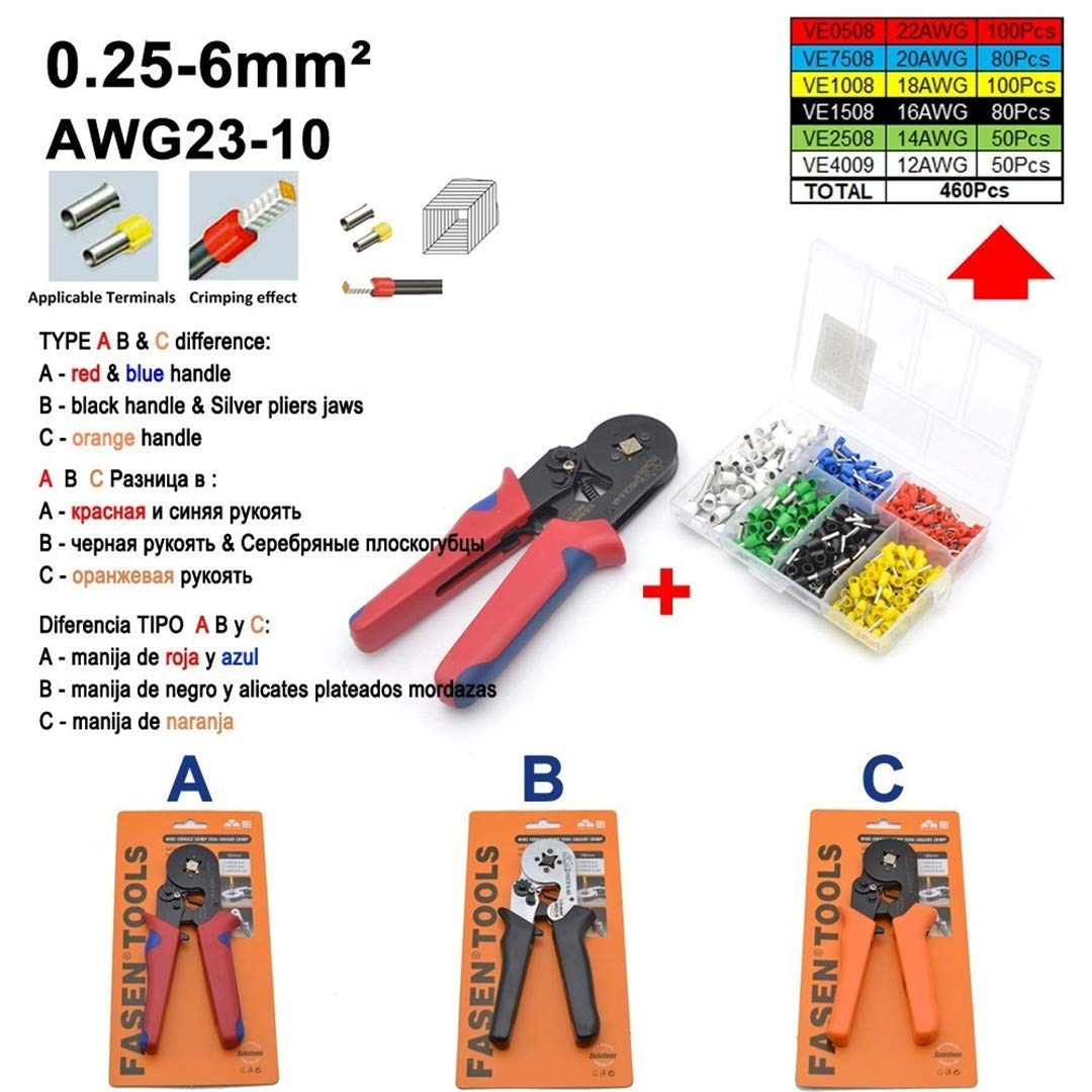 C8 6-4 6-6 0.25-6Mm 23-10AWG & 10S 0.25-10Mm 23-7AWG Simple Package Crimp Pliers Tube Bootlace Terminals Tools Wire Connector 6-4 Set B Black