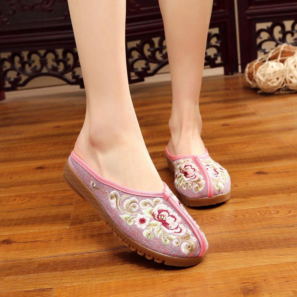 LTQ&QING new-Chaussures brod¨¦es, semelle tendineuse, style ethnique, flip flop f¨¦minin, mode, confortable, sandales d¨¦contract¨¦es, pink, 36