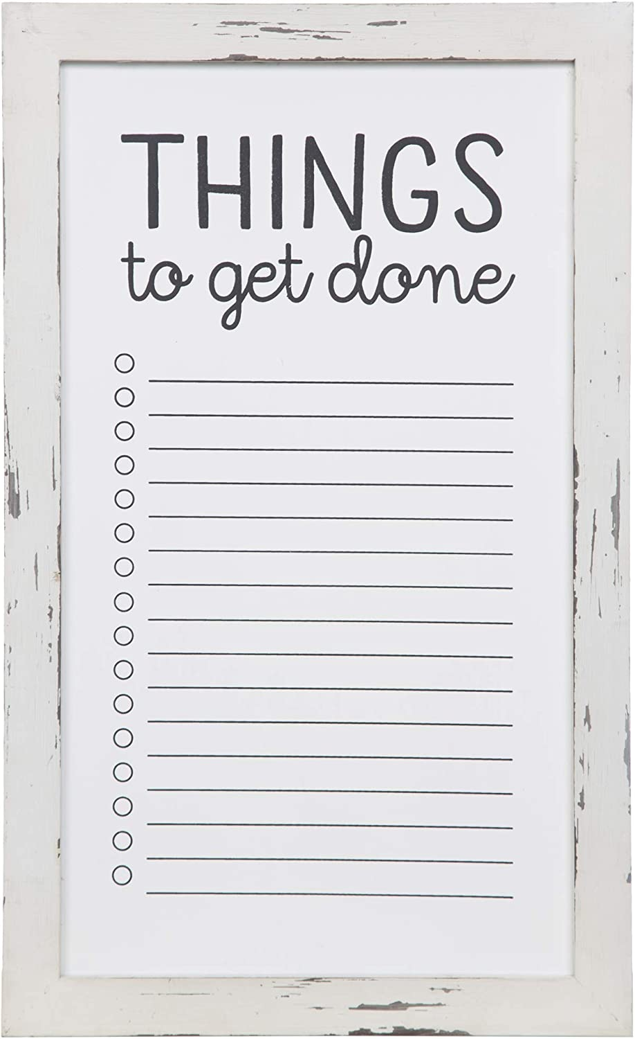 "Patton Wall Decor Rustic to Do List Mount Whiteboard Wall Décor, 13"" x 22"", Distressed White"
