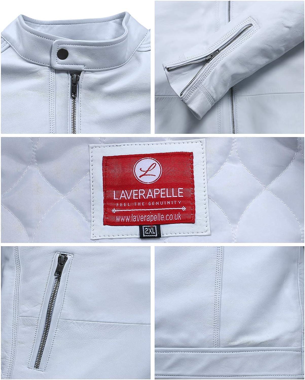 1501272 Laverapelle Mens Genuine Lambskin Leather Jacket White, 2XL, Fiberfill Lining