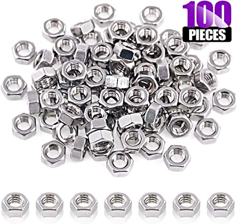 100pcs//Pack M2 M3 M4 M6 Hex Screw Nut Steel Hexagon Galvanized Nuts Silver