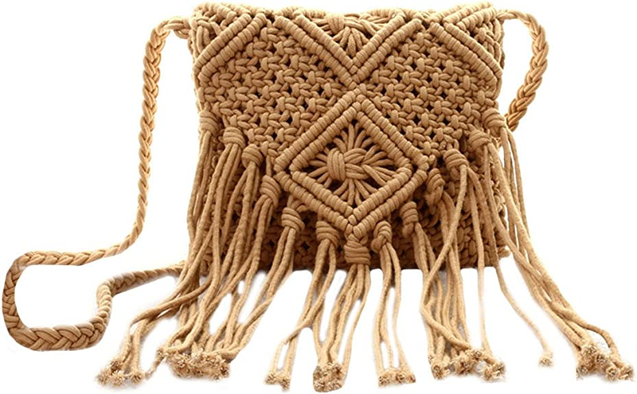 Van Caro Women Crochet Beach Bag Fringed Bohemian Crossbody Shoulder Purse Cotton Pouch (Brown): Handbags: Amazon.com