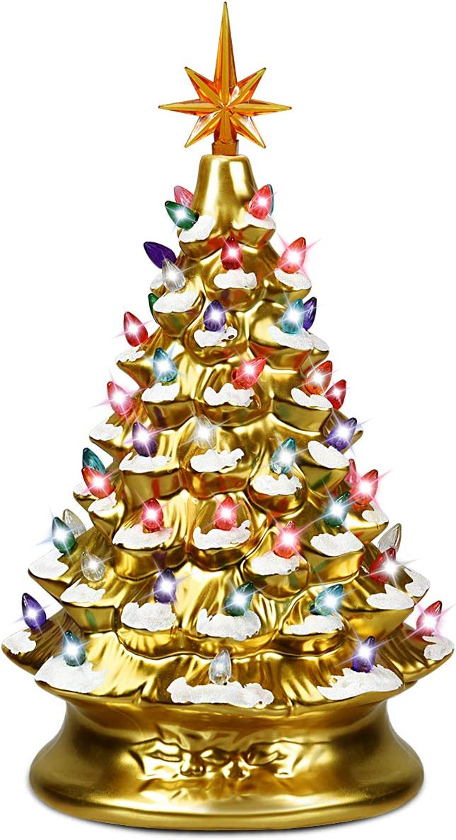 Goplus Pre-Lit Hand-Painted Ceramic Christmas Tree, Tabletop Xmas Decor, with 66 Multicolored Lights and Top Star, Forever Lighted Holiday Centerpiece (15in, Gold)