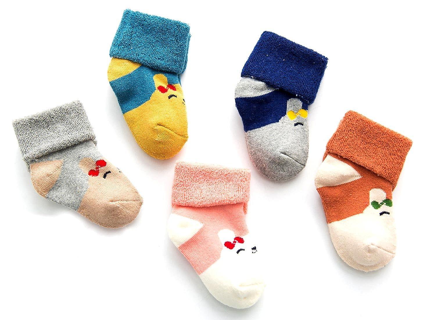 Aivtalk Multicolor Pack de Calcetines Largos para Beb/és Recien Nacido Ni/ños Ni/ñas de Algod/ón Calcetines Primeso Pasos Caliente para Oto/ño Invierno