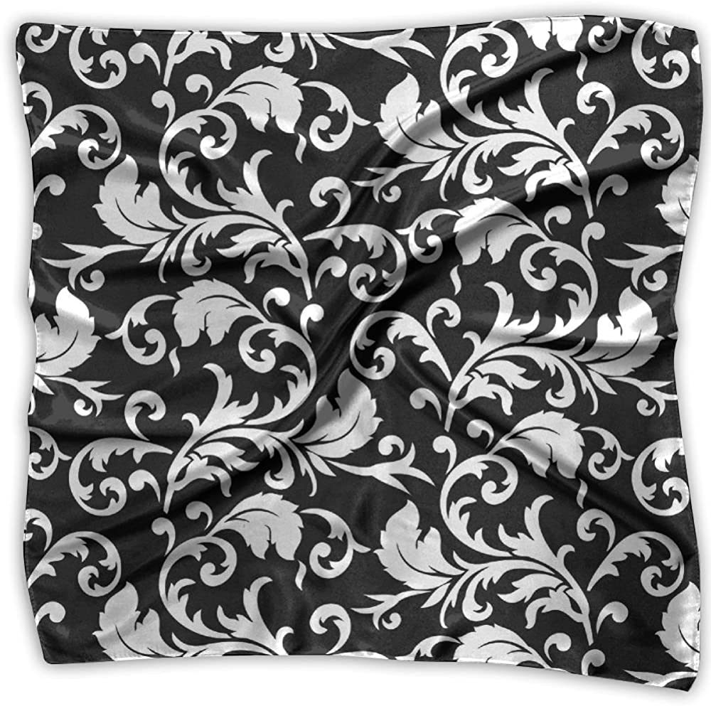 Women Lady Black And White Floral Patterns Print Square Kerchief