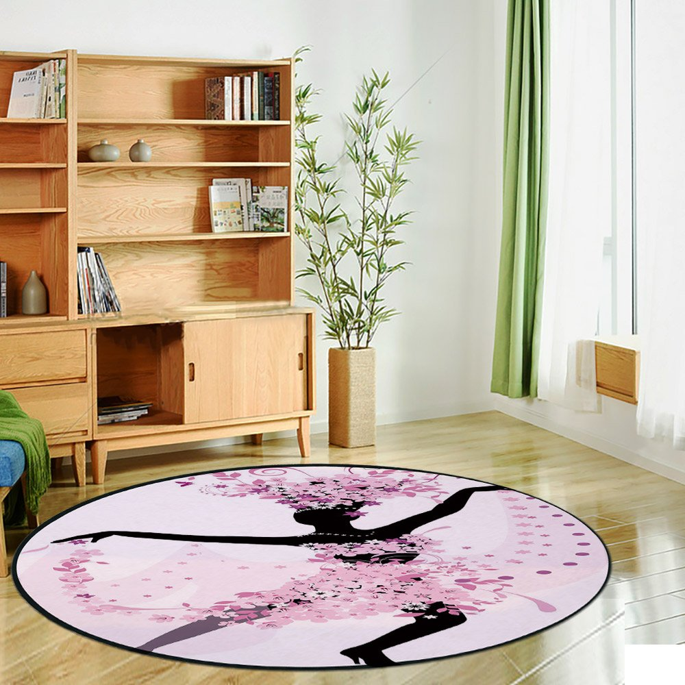 Printing Round Rug,Latin,Silhouette of a Woman Dancing Samba Salsa Latin Dances Spain and Mexico Culture Print Decorative Mat Non-Slip Soft Entrance Mat Door Floor Rug Area Rug For Chair Living Room,P by iPrint (Image #2)