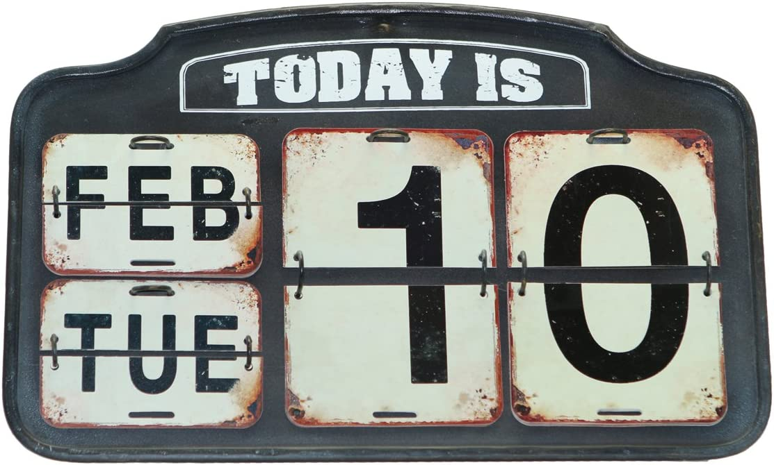 NIKKY HOME Shabby Chic Metal Perpetual Flip Desk Calendar Distressed Finish, Black 16 by 9 Inches