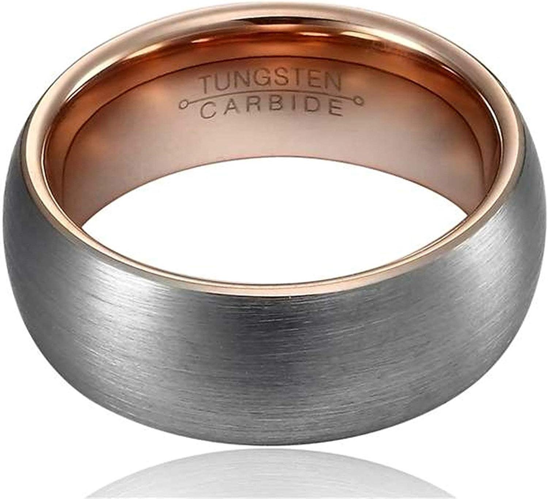 Beglie Unisex Wolfram Ring Geb/ürstet Breit Bicolor Trauringe Verlobungsring Eheringe f/ür Herren Bandring mit Gratis Gravur