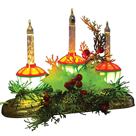 Vintage-look burbujas luz vela Glowing Navidad Holly Berry centro ...