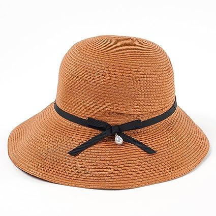 Sombreros de Paja Hembra Verano Sunscreen Playa sombrilla Lavabo Pescador  Sol QIQIDEDIAN (Color   Marrón dc3db3d332e