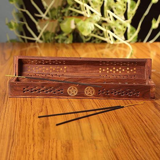 Simply essential - Caja de Incienso de Madera con Soporte para Conos de Incienso: Amazon.es: Hogar