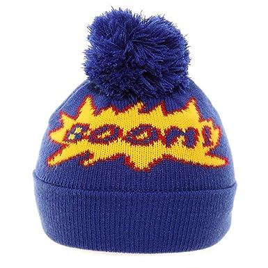 Hawkins fine knit Boom or Pow bright coloured beanie bobble ski hats - Boom  (blue 1e201bc2236