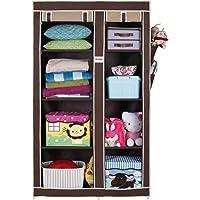 FOLDDON Foldable wardrobe with 8 Racks, Standard Size(Beige and Brown)