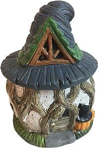 Halloween Mini Fairy Garden Cottage Garden Gnome Village Statues (Wood House)