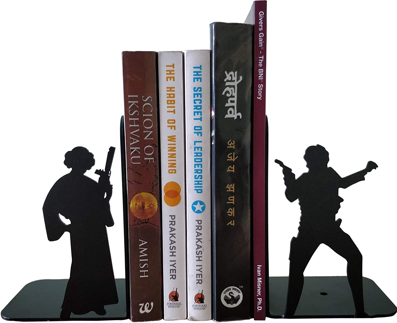 Simhoo Metal Concise Universal Bookends//Books Stopper//Surports,Sloted Gauge Steel Economy Book end for Shelves,Office Desk,Library 6pcs Black
