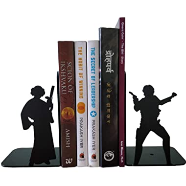 HeavenlyKraft Decorative Metal Bookend, Non Skid Book End, Book Stopper for Home/Office Decor/Shelves, 5.9 X 3.9 X 3.14 Inch Per Piece