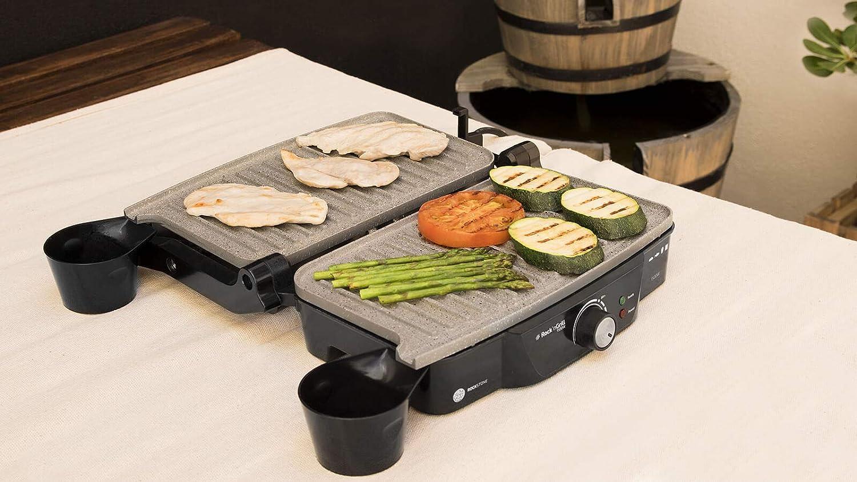 Gril /électrique en pierre de lave sans PFOA avec thermostat r/églable /à double plaque grill sandwich /électrique multi-usages plaque grille-pain de table 03024 Rockn Grill 1500