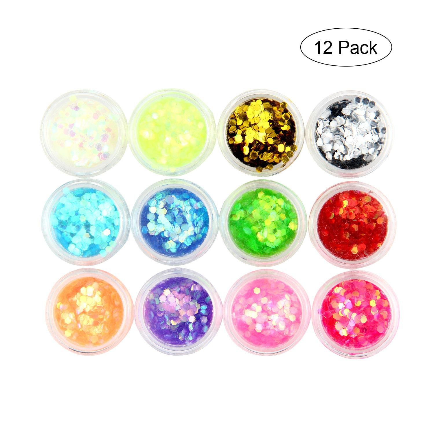 12 Pack Bio Glitter Face - Womdee Eco UV Hexagon Cosmetic Chunky Glitter Sequin Stickers, Mixed Colors Shimmer for Face, Body, Nails, Hair, Making Up Phone, Party